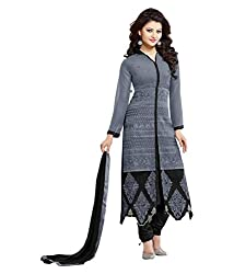 My online Shoppy Women's Georgette Unstitched Dress Material (My online Shoppy_121_Grey_Free Size)