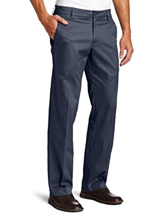 Lee Men's Motion Comfort Khakis Straight Fit Flat Front Pant, Navy, 30x30