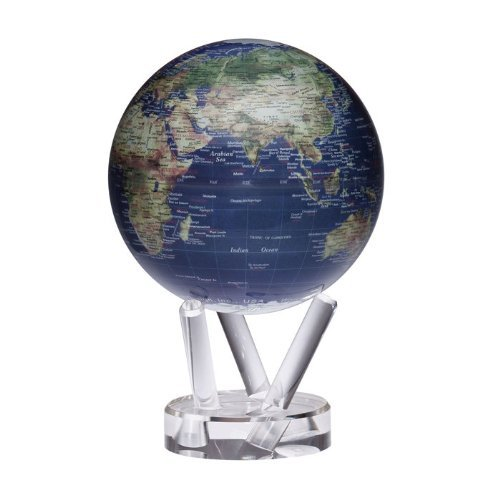 Mova Globes Mova Rotating Satellite With Gold Map 6 In. Diam. Globe, Blue
