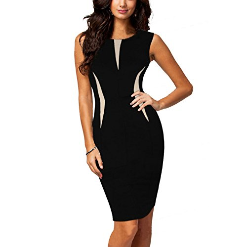 Weixinbuy Women Sleeveless V Neck Slim Fitted Bodycon Office Dress Party