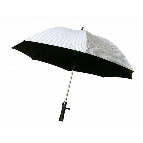 KitagawaSyouten[キタガワショウテン] 晴雨兼用傘 レディース 日傘 雨傘 長傘 涼風扇風機付き 表シルバー