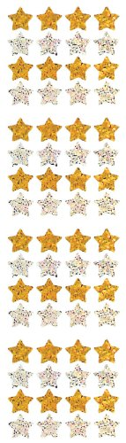Jillson Roberts Prismatic Stickers, Gold and Silver Micro Stars, 12-Sheet Count (S7141)
