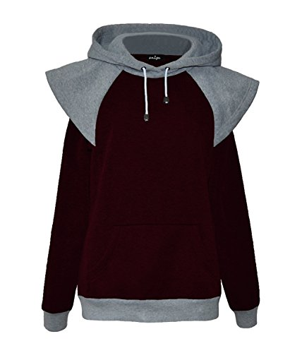 ANIGU Womens Long Sleeve Collision Color Hoodie Casual Sweatshirt (Large, Burgundy)