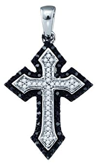 0.20CT BLACK DIAMOND CROSS PENDANT