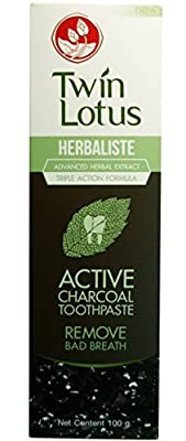 Twin Lotus Active Charcoal Toothpaste Herbaliste Triple Action Advanced Herbal Extract 100g X 2 Tubes