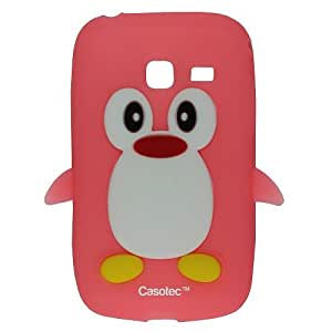 Casotec Penguin Silicone Jelly Back Case Cover for Samsung Galaxy Y Duos S6102 - Baby Pink