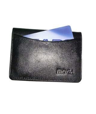 "Mw90070-bk Genuine New Leather Credit Card Holder Id Window 2.75"" X 4"" Black Wallet"