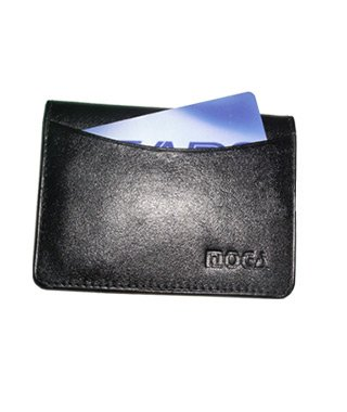 New Leather Credit Card Holder Wallet ID Window Black