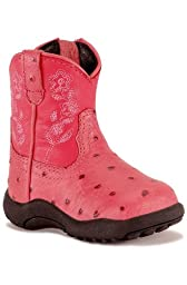 Roper Faux Ostrich Floral Pink Boots, 8 (Toddler)