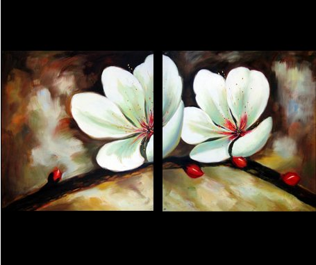 Abstract Art Asian Feng Shui Orchid Flower Oil Painting