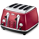 Delonghi 4 Slot Toaster, Red - CTOM4003.R
