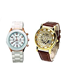 COSMIC COMBO WATCH- WHITE COLORFUL STRAP ANALOG WATCH FOR WOMEN AND BROWN ANALOG SKELETON WATCH FOR MEN