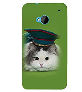 Printvisa Cat With A Green Hat Back Case Cover for HTC One M7::HTC M7