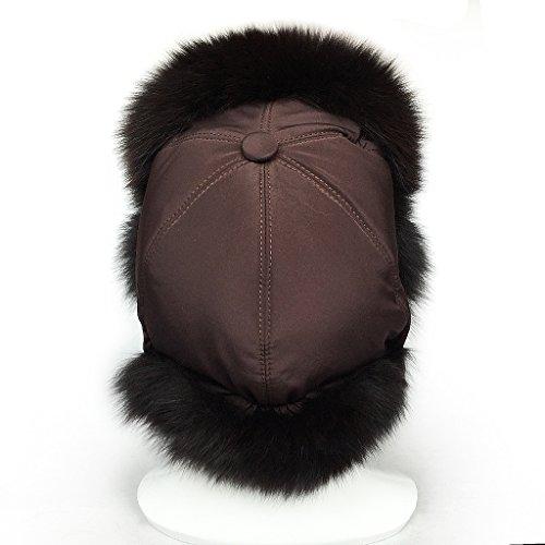 6e2b63255c5 LETHMIK Women s Winter Trapper Bomber Hat Real Fox Fur Russian Ushanka Hat  Deep coffee