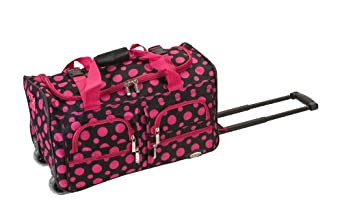 Rockland Luggage Rolling 22 Inch Duffle Bag, Black/Pink Dot, One Size