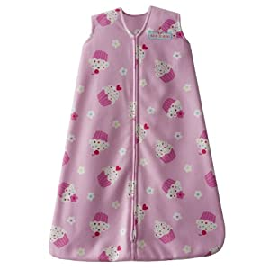 HALO SleepSack Micro-Fleece Wearable Blanket, Pink Cupcake, Large
