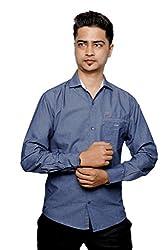Relish Men's Solid Casual Dark Blue Shirt