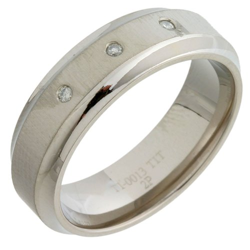 Trilogy Diamond Wedding Ring with Matte Finish, 7mm Band Width