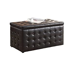 Homelegance 4720PU Lift-Top Storage Bench with 2 Ottomans