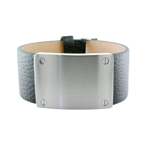 Men's Stainless Steel Textured Leather Adjustable Bracelet in Black, 8.5-9