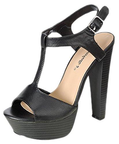 Breckelles-Womens-Betsey-41-Buckle-Ankle-Strap-Stacked-Wooden-Platform-Heel-Sandals
