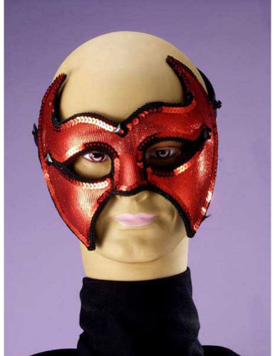 Scary-Masks Devil Half Mask Halloween Costume - Most Adults