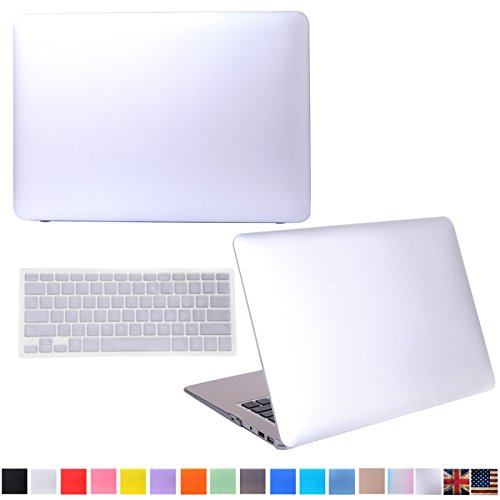 "HDE Matte Hard Shell Clip Snap-on Case + Matching Keyboard Skin for MacBook Air 13"" - Fits Model A1369 / A1466 (Silver)"
