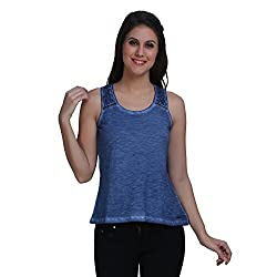 Meish Blue Solid Top for Women