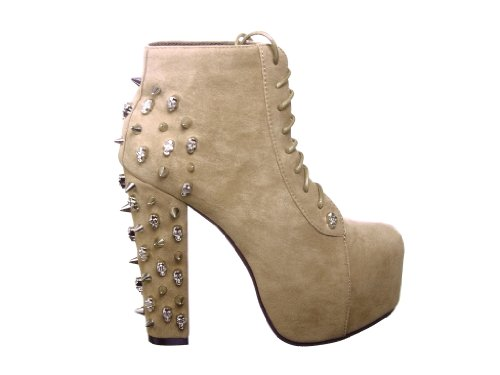 Lace up Platform Ankle Round Toe Booties + Studded