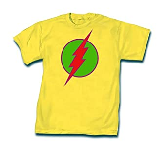 Mens Officially Licensed DC Comics Flash Logo T-Shirt (Small, Yellow)