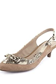 Suede Faux Snakeskin Bow Slingback Shoes [T02-8223-S]