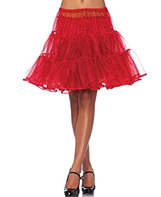 Leg Avenue A1965 Women's Red Knee Length Petticoat Skirt