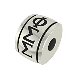 Phi Sigma Sigma Barrel Sorority Bead Fits Most Pandora Style Bracelets Including Pandora Chamilia Biagi Zable Troll and More. High Quality Bead in Stock for Immediate Shipping