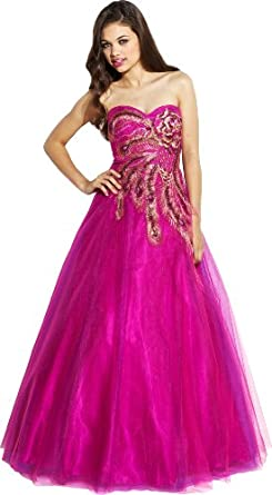 Strapless Mesh Peacock Long Gown Prom Dress, XS, Fuchsia-Purple