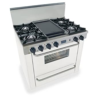"WPN-310-7SW 36"" Pro-Style LP Gas Range with 4 Open Burners Vari-Flame Simmer on Front Burners 3.69 cu. ft. Manual Clean Oven Broiler Oven and Double Sided Grill/Griddle White with Brass"