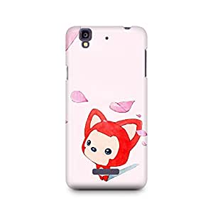 Motivatebox -Micromax Yureka Back Cover - Fox toon and cherry Blossom Polycarbonate 3D Hard case protective back cover. Premium Quality designer Printed 3D Matte finish hard case back cover.