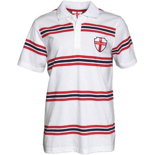 England Mens Multi Stripe Polo White/Navy/Red