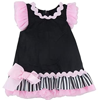 Mud Pie Infant or Toddler Girls Dresses -Perfectly Princess Chiffon Ruffle Shift -167045 (9 - 12 Months)