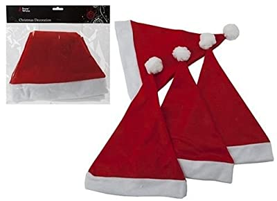 Pack of Four Red Santa Hats - Adult - Christmas/Fancy Dress (PM199)