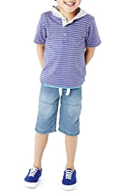 2 Piece Pure Cotton Hooded Striped T-Shirt & Shorts Outfit [T88-4422N-Z]