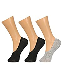 Gumber Pack of 3 Pairs of Black & Grey Solid No Show Socks(GE_LOAFER_BLK_BLK_GRY)