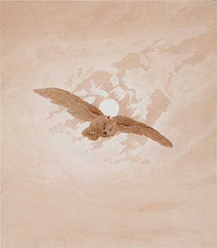 'Owl Flying Against A Moonlit Sky,1837 By Caspar David Friedrich' Oil Painting, 30x34 Inch / 76x87 Cm ,printed On Perfect Effect Canvas ,this Reproductions Art Decorative Canvas Prints Is Perfectly Suitalbe For Foyer Decor And Home Artwork And Gifts