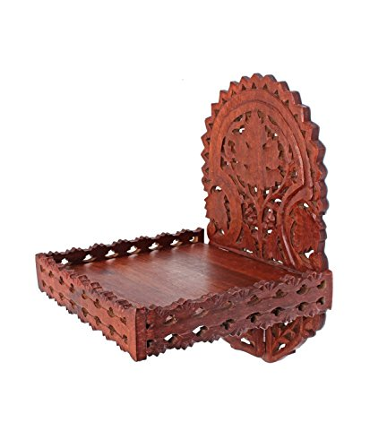 Wooden Wall Shelf Rustic Handmade Wall Mounted with Intricate Floral Fretwork, Home Decor Furniture