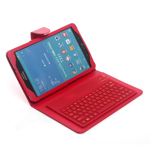 Newstyle Pu Leather Protective Stand Case Cover Wireless Bluetooth Silicone Keyboard For Samsung Galaxy Tab Pro 8.4 Inch Tablet Sm-T320N - Red