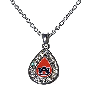 Auburn Tigers 18 Silver Tone Chain Necklace with a Small Teardrop Design Featuring... by Judson