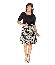 Cottinfab Women's A-Line Dress (7070E_Black/Grey_XX-Large)