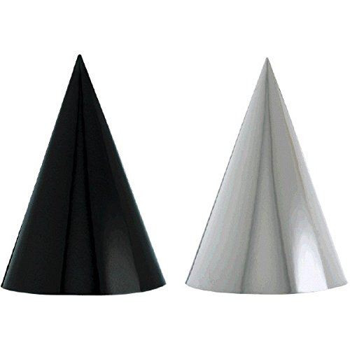Amscan Classic Foil Cone Any Occasion Party Hats, Black/White, 7
