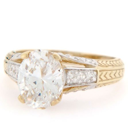 9ct Gold Brilliant Oval CZ Arrow Design Engagement Ring