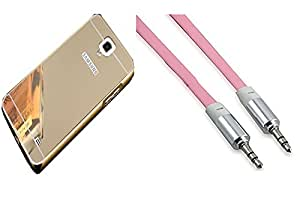 Novo Style Back Cover Case with Bumper Frame Case for Samsung Galaxy Note 3 Neo Golden + 3 Feet or 1 Meter Flat Aux cable 3.5 jack for all mobile and music