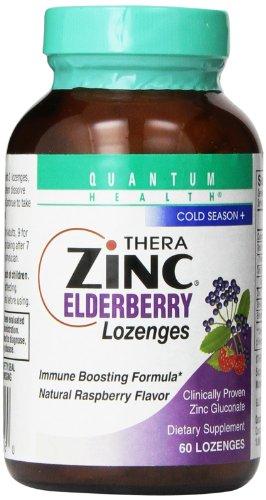 Quantum Health Thera Zinc Lozenges, Elderberry, 60 Count